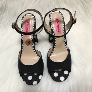 Betsey Johnson Polka Dot Black Chunky Heels